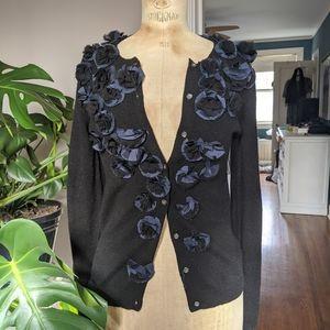 J Crew black embellished cashmere cardigan